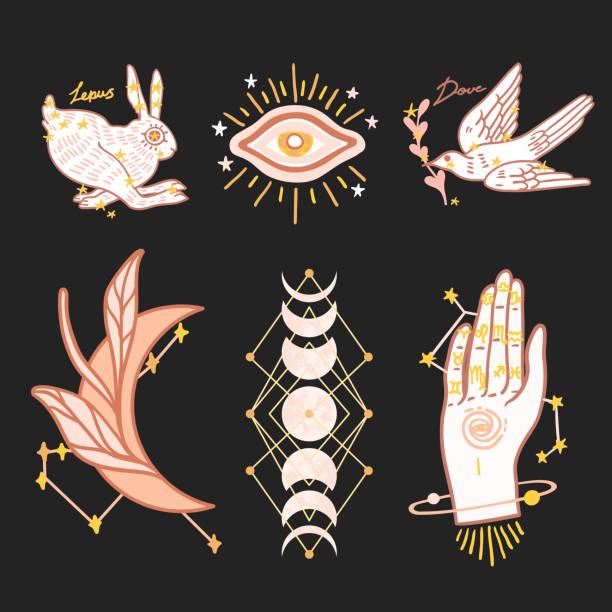 ilustraciones, imágenes clip art, dibujos animados e iconos de stock de establecer la astrología signos ilustración vectorial - tatuajes de luna