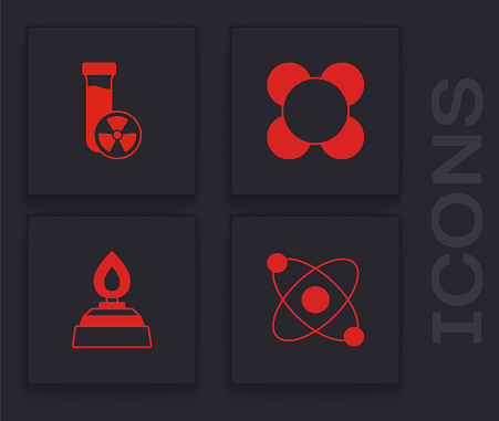 Set Atom, Test tube with toxic liquid, Molecule and Alcohol or spirit burner icon. Vector