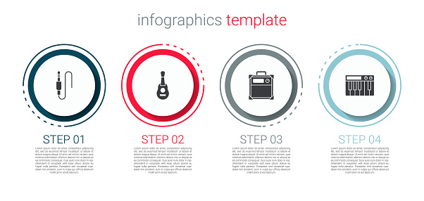 Set Audio jack, Guitar, amplifier and Music synthesizer. Business infographic template. Vector