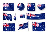 Set Australia realistic flags, banners, banners, symbols, icon