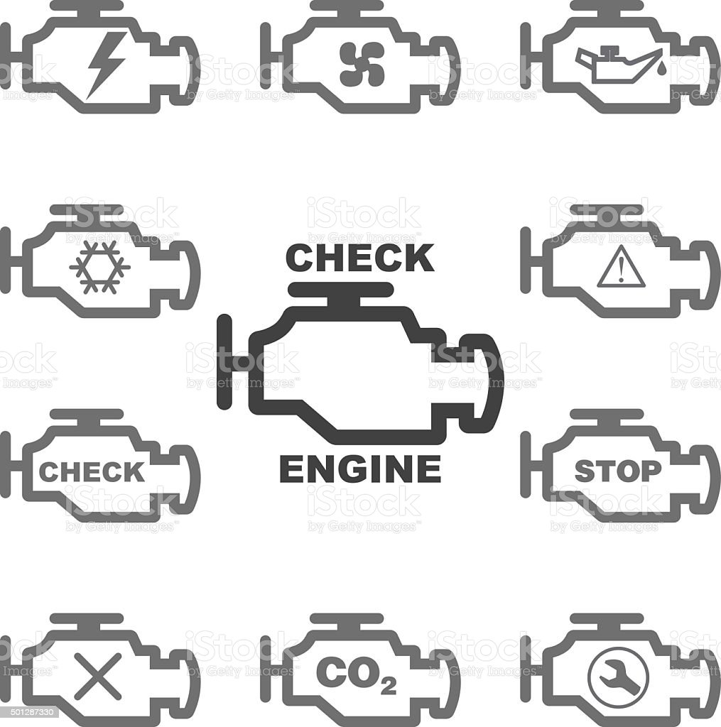 Set auto icons CHECK ENGINE. Vector. vector art illustration
