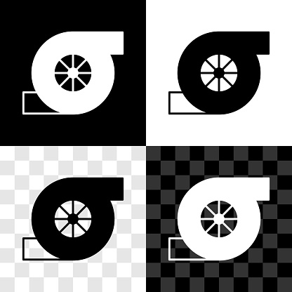 Set Automotive turbocharger icon isolated on black and white, transparent background. Vehicle performance turbo. Turbo compressor induction. Vector
