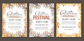 Set Autumn festival flyers, template with branches and berries. Vector illustration
