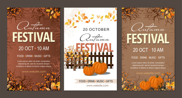 set autumn festival flyers, template with pumpkins  branches and berries. - tradycyjny festiwal stock illustrations