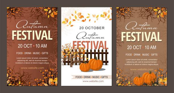 bildbanksillustrationer, clip art samt tecknat material och ikoner med ställ höstfestival flyers, mall med pumpor grenar och bär. - traditionell festival
