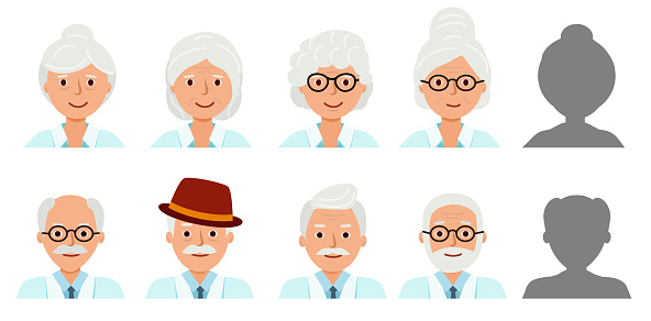 Set Avatar profile isolated. Icons of happy grandparents.