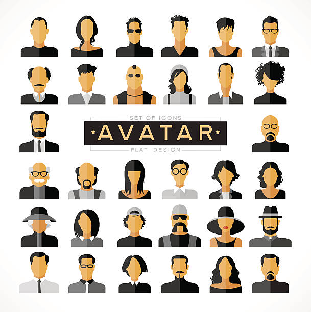 set avatars icons flat modern design - old man hair stock illustrations, clip art, cartoons, & icons
