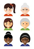 Six people avatars icons. Vector illustration in flat style isolated on white background.