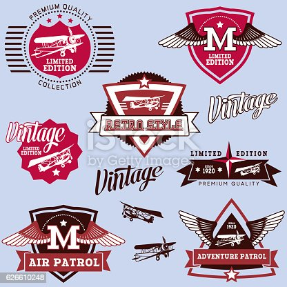 Vector illustration of a beautiful Set of Aviation Labels and insignias.