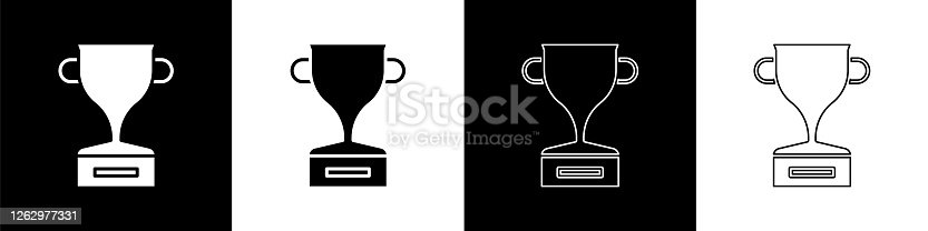 istock Set Award cup icon isolated on black and white background. Winner trophy symbol. Championship or competition trophy. Sports achievement sign. Vector Illustration 1262977331