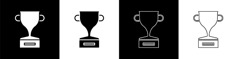 Set Award cup icon isolated on black and white background. Winner trophy symbol. Championship or competition trophy. Sports achievement sign. Vector Illustration