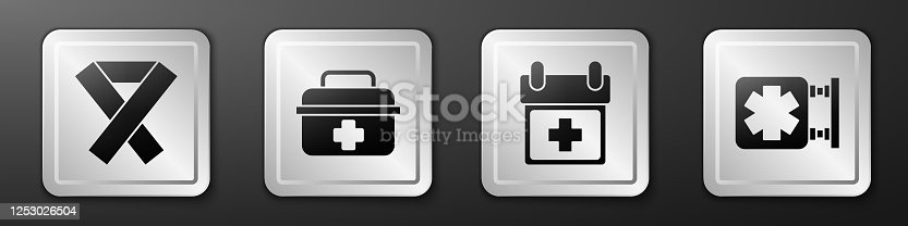 istock Set Awareness ribbon, First aid kit, Doctor appointment and Medical symbol of the Emergency icon. Silver square button. Vector 1253026504