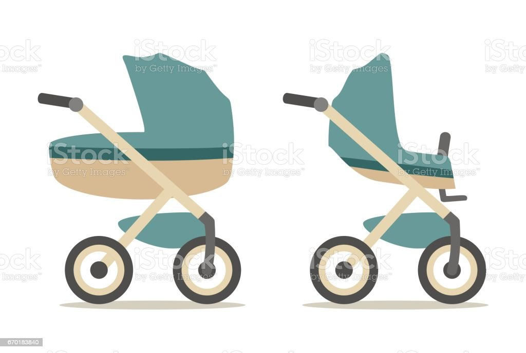 Set baby carriage. Color flat vector illustration isolated on white vector art illustration