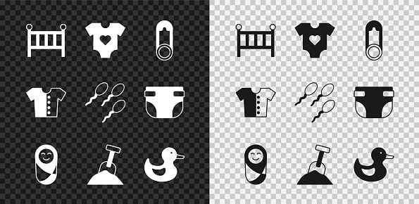 Set Baby crib cradle bed, clothes, pin, Newborn baby infant swaddled, Sandbox with sand and shovel, Rubber duck, t-shirt and Sperm icon. Vector