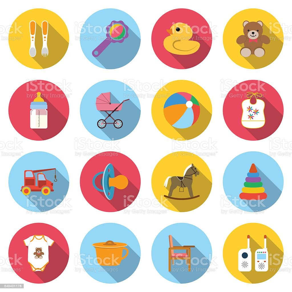 Set baby icons vector art illustration