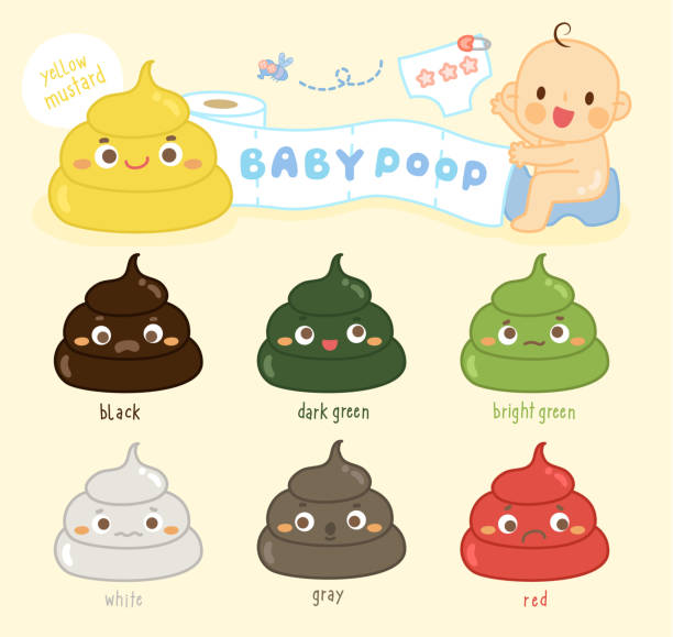 stockillustraties, clipart, cartoons en iconen met baby kak tinten kleur instellen - baby dirty