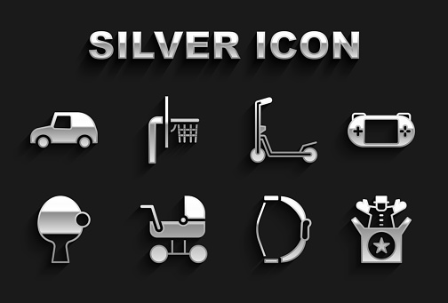 Set Baby stroller, Portable video game console, Jack in the box toy, Bow, Racket and ball, Scooter, Toy car and Basketball backboard icon. Vector
