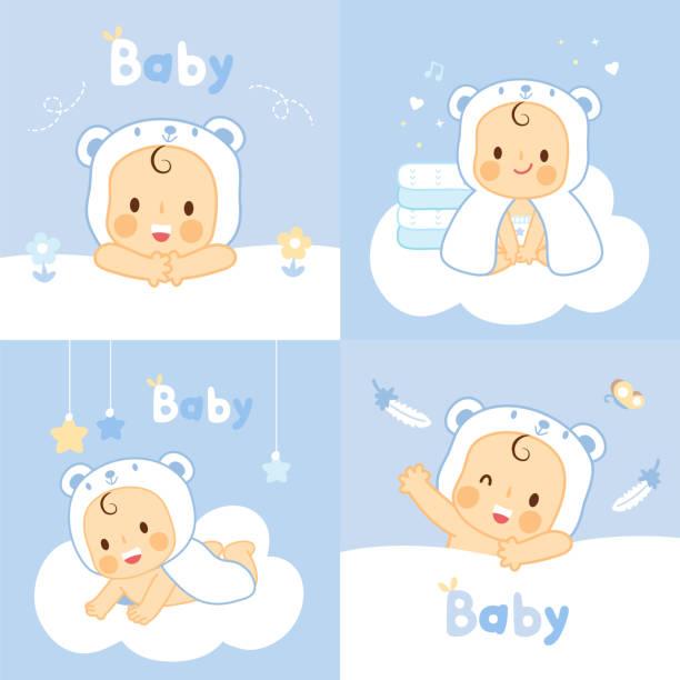 ilustrações, clipart, desenhos animados e ícones de conjunto bebê com urso toalhas toalhas de rosto - limpando rosto