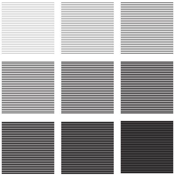 Conjunto rayas y líneas horizontales fondos con diferente espesor e intensidad - ilustración de arte vectorial