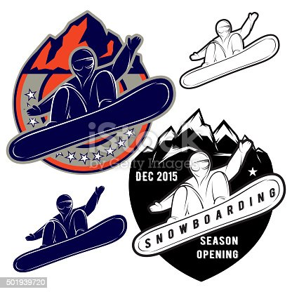 set of badges for extreme sports snowboarding