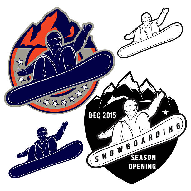 illustrazioni stock, clip art, cartoni animati e icone di tendenza di set di icone di sport estremi snowboard - negozio sci