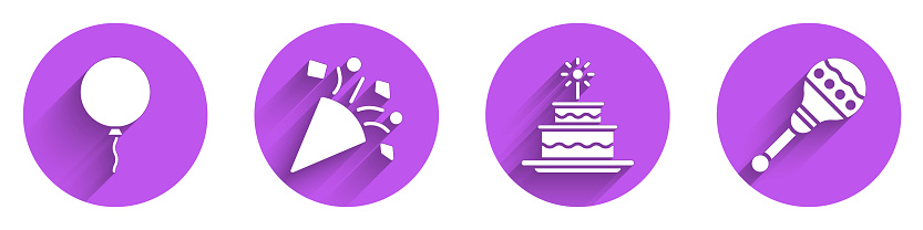 Set Balloon with ribbon, Festive confetti, Cake with burning candles and Maracas icon with long shadow. Vector