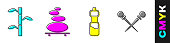 Set Bamboo stems with leaves, Stack hot stones, Bottle of water and Knitting needles icon. Vector