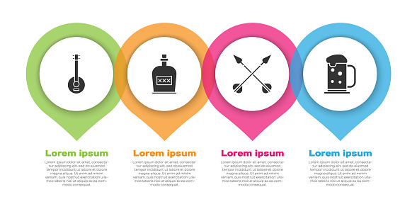 Set Banjo, Alcohol drink Rum bottle, Crossed arrows and Wooden beer mug. Business infographic template. Vector