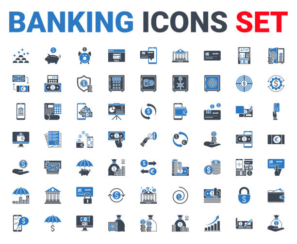 Set banking icons glyph. For mobile concepts and web apps. Set banking icons glyph. Black and blue color. Icons for mobile concepts and web apps. Collection modern infographic logo and pictogram. Isolated on white background. Vector illustration. banking stock illustrations