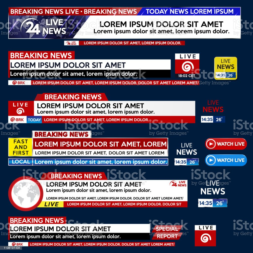 Set Banner For Breaking News Template Title On Blue Background For