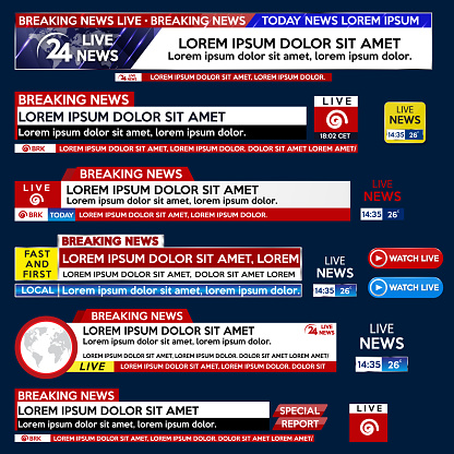 Set banner for Breaking News template title on blue background for screen TV channel. Background screen saver on breaking news.