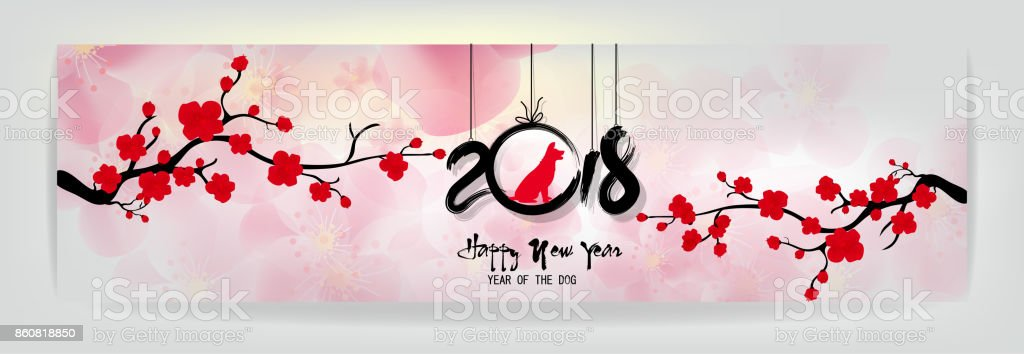 set banner happy new year 2018 greeting card and chinese new year of the dog