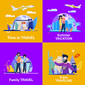 Set Banner Illustration Advertising Travel Company. Viewing on Laptop Video Blog is Time to Travel. Summer Vacation Couple in Love. Family Travel with Child. Bearded Man Tells how to Enjoy Traveling
