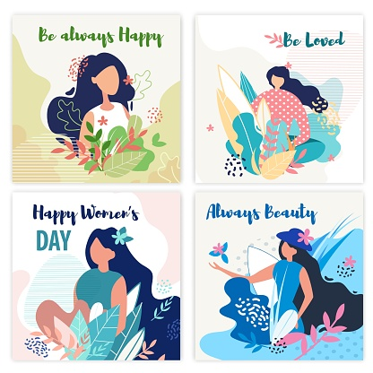 Set Banner Inscription be Always Happy, be Loved.