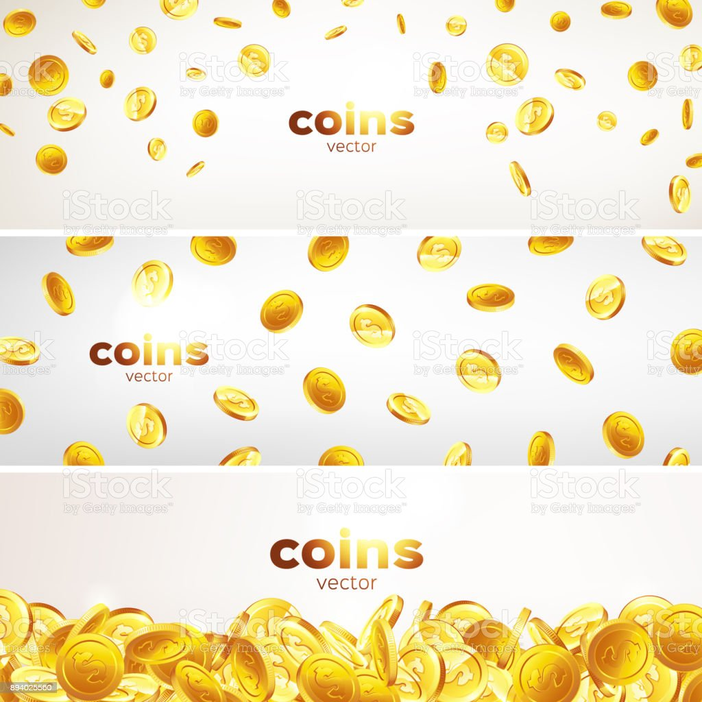 7b91bd73d329 Set Banners Falling Gold Coins In Different Positions Illustration ...