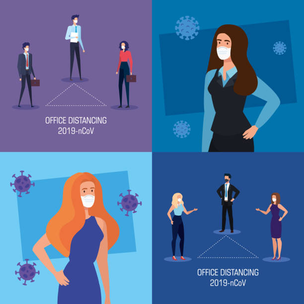 set banners of campaign distancing social at office with business people vector art illustration