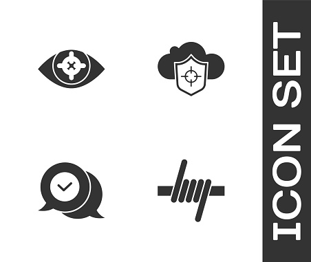 Set Barbed wire, Eye scan, Check mark in speech bubble and Cloud and shield icon. Vector