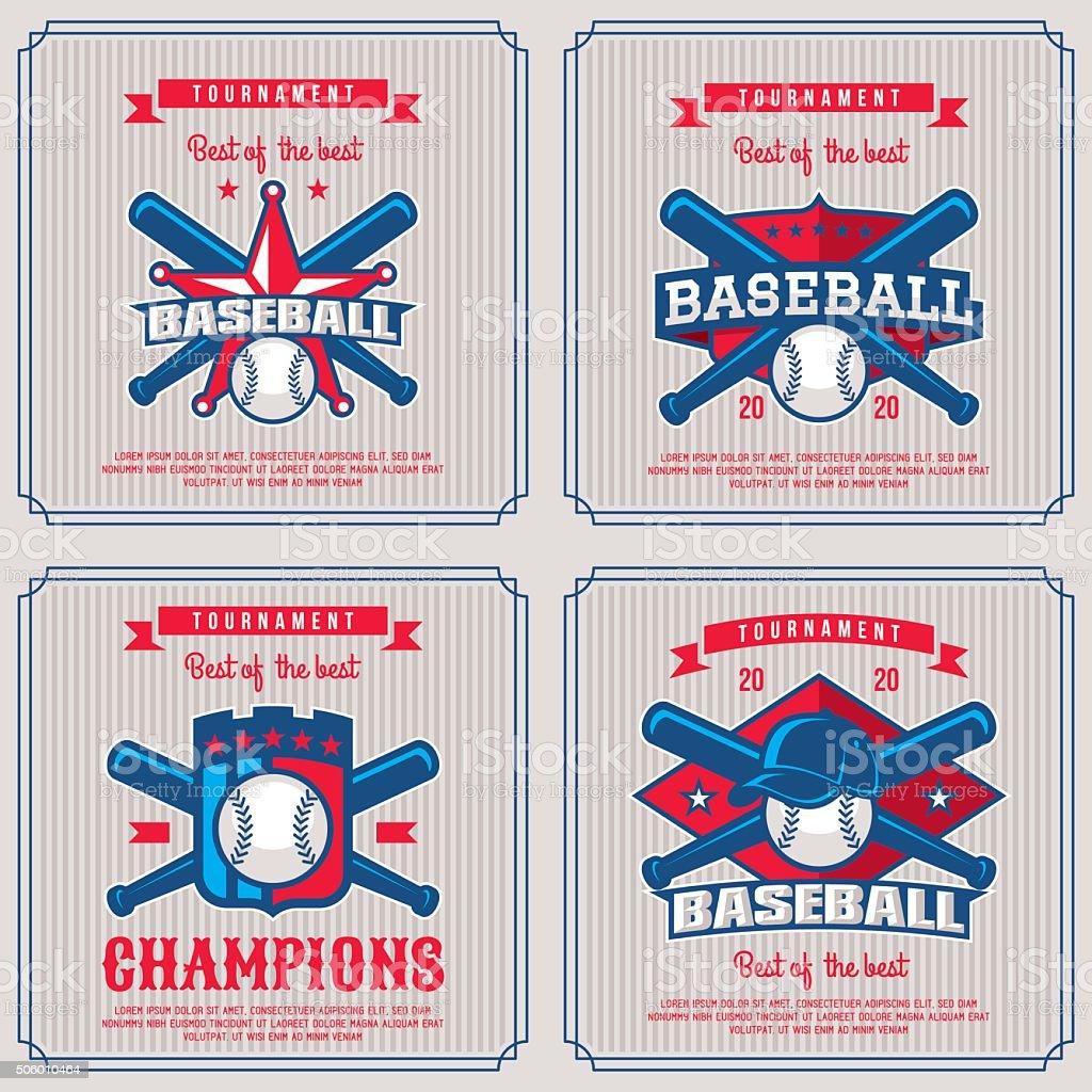 Set baseball badge, symbol, emblem tournament in vintage retro style...