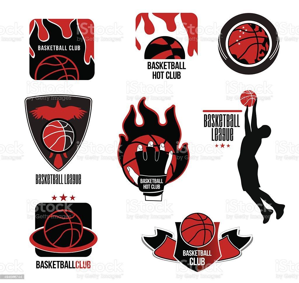 Set basketball League logo and emblem. vector art illustration