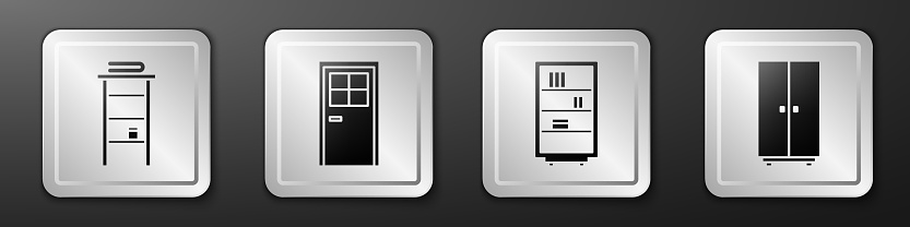 Set Bathroom rack with shelves for towels, Closed door, Library bookshelf and Wardrobe icon. Silver square button. Vector