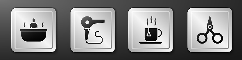 Set Bathtub, Hair dryer, Cup of tea with tea bag and Scissors icon. Silver square button. Vector