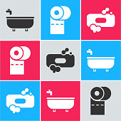 Set Bathtub, Toilet paper roll and Bar of soap icon. Vector.