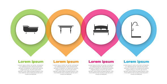Set Bathtub, Wooden table, Big bed and Shower. Business infographic template. Vector