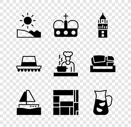 Set Beach, Crown of spain, Giralda, Yacht sailboat, House Edificio Mirador, Sangria, Spanish hat and cook icon. Vector
