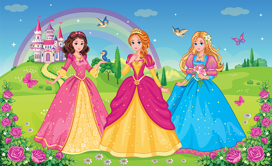 Set  beautiful elf princesses. Children's background with castle, rainbow and fabulous flower meadow. Wallpaper for girl. Wonderland. Cartoon illustration. Postcard for friends or family. Vectot.