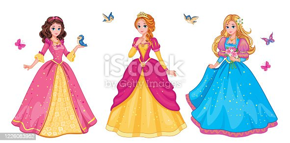 Set  beautiful fairytale Elf princess on white background. Children's illustration for print or sticker. Isolated illustration. Romantic story. Wonderland. Postcard for friends or family. Vector.