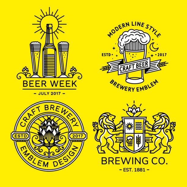 bildbanksillustrationer, clip art samt tecknat material och ikoner med ställa in öl illustrationer - vektor emblem bryggeri design modern linjeformat - pub