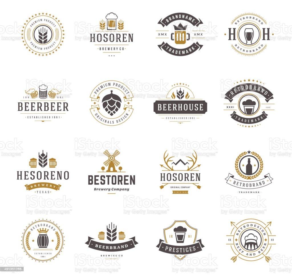 Conjunto de cerveza logotipos, tarjetas y etiquetas Vintage estilo - ilustración de arte vectorial