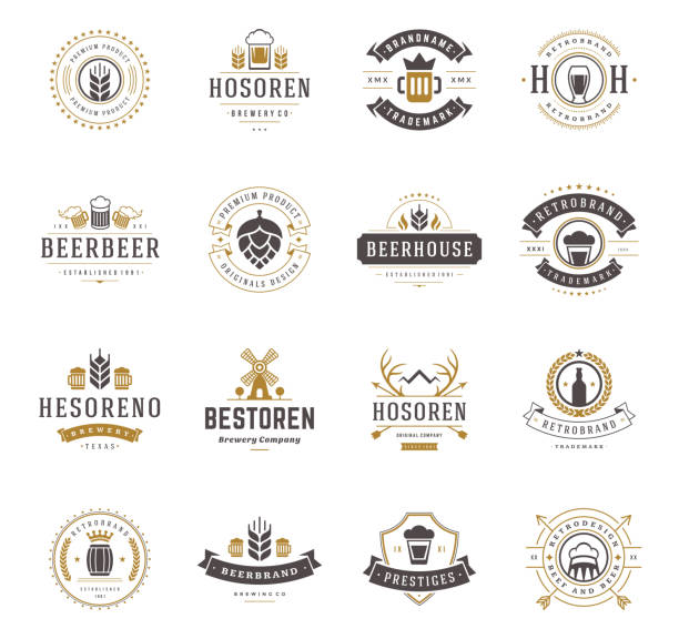 Set Beer Logos, Badges and Labels Vintage Style​​vectorkunst illustratie