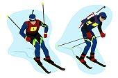 Set Biathlete in gear goes skiing and helping himself with sticks, Winter sports, vector character in flat style.